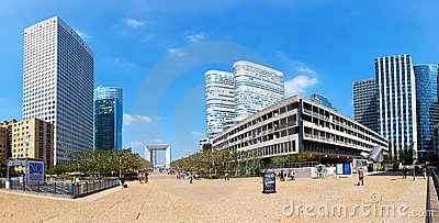 Panoramic view of La Defense in Paris Editorial Photo