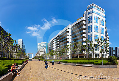 Panoramic view of La Defense in Paris Editorial Stock Image