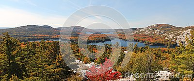 Panoramic view of the lakes of Killarney in autumn