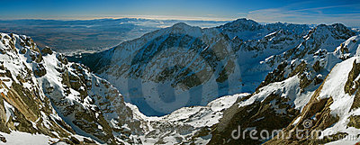 Panoramic view from Lomnicky peak in Slovakia