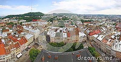 Panoramic view of Lviv city, Ukraine