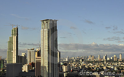 Panoramic view of Makati City on a sunny day