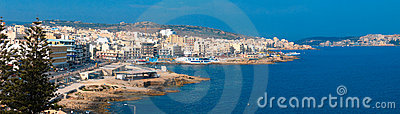 Panoramic view of maltese town Bugibba