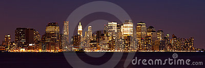 Panoramic view  of Manhattan Skyline by night