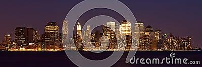 Panoramic view  of Manhattan Skyline by night