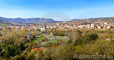 Panoramic view of Millau bridge and town