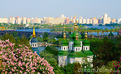 Panoramic view of a monastery in Kiev. Ukraine