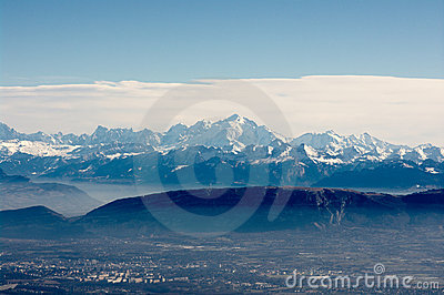 Panoramic view on Mont-Blanc