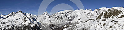 Panoramic view of Monte Rosa and Cervino
