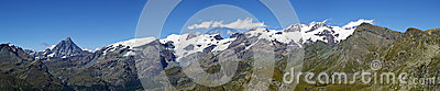 Panoramic view of Monte Rosa Cervino Matterhorn