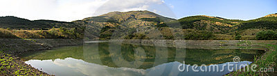 Panoramic view of mountain lake