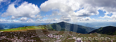 Panoramic view from mountain ridge