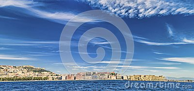 Panoramic view of Naples waterfront Editorial Stock Image