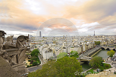 Panoramic view from Notre Dame de Paris at sunset