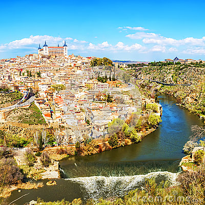 Free Panoramic View Of The Historic City Of Toledo With River Tajo, S Stock Photos - 69148543