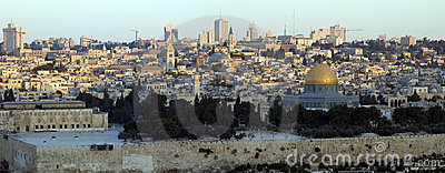 Panoramic view of Old City of Jerusalem at sunrise