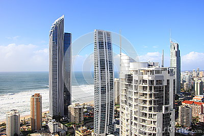Tower buildings beachside aerial imgae Editorial Photography
