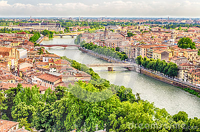 Panoramic View Over Verona and Adige River, Italy