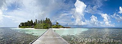 Panoramic view of a paradise island