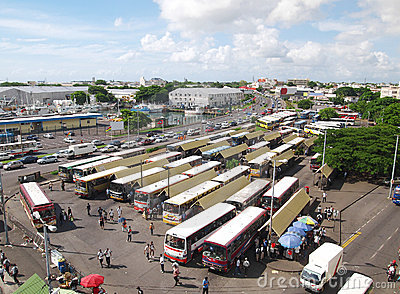 Panoramic view of Port Louis bus station Editorial Photography
