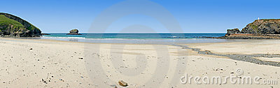 Panoramic view of Portreath beach, Cornwall, UK.