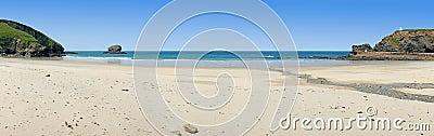 Panoramic view of Portreath beach, Cornwall, UK.