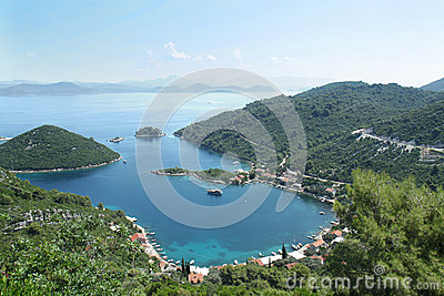 Panoramic view of the Prozura bay, island  Mljet