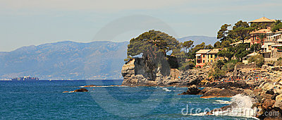 Panoramic view on Recco-popular touristic resort.