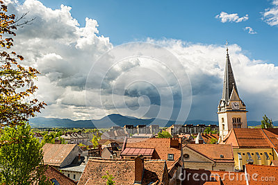 Panoramic view of residential district with a church tower Stock Photo