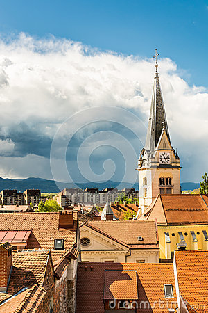 Panoramic view of residential district with church tower Stock Photo