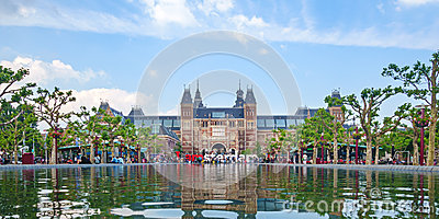 Panoramic view of the Rijksmuseum with the I Amsterdam sign in f Editorial Photography