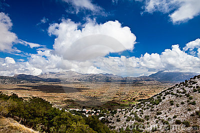 Panoramic view of tableland Lasithi in Crete, Gree