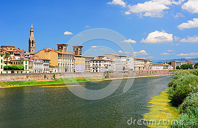 Panoramic view to the Arno river in Florence