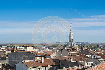 A panoramic view to spanish town Consuegra Stock Photo