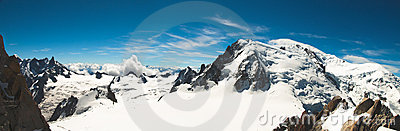 Panoramic view from the top of Mont-Blanc