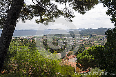 Panoramic view with trees framing at Bormes les mimosa