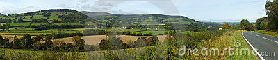 Panoramic view the Usk valley in Wales UK.