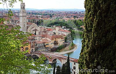 Panoramic view of Verona, Italy