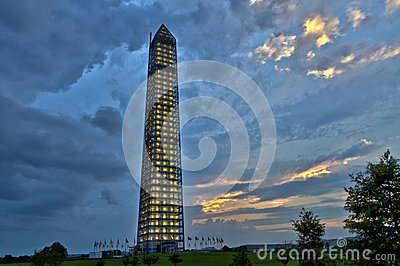 Panoramic view of the Washington Monument after a storm
