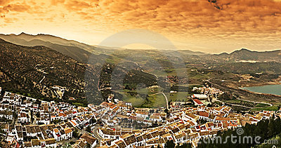 Panoramic view of the white village in Spain