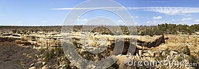 Panoramic Views of Cliff Dwellings in Mesa Verde N