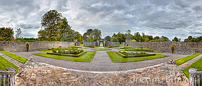 Panoramic views of the Portumna gardens in Ireland
