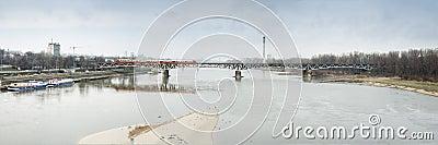 Panoramic Warsaw Secene of Swietokrzyski Bridge.