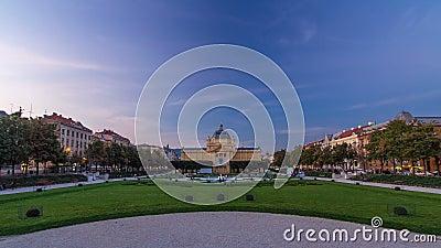 Panoramiczny dzień nocy timelapse widok sztuka pawilon przy królewiątka Tomislav kwadratem w Zagreb, Chorwacja zdjęcie wideo
