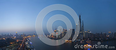 Panoroma night view  of shanghai huangpu river Editorial Stock Image