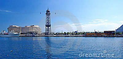 Panroma of Barcelona port.