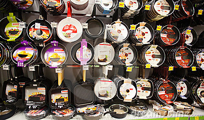 Pans shelf in supermarket Editorial Stock Image