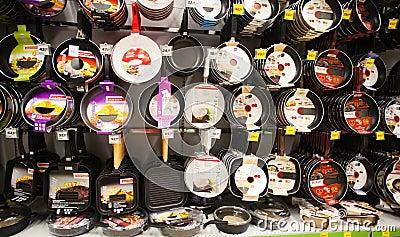 Pans shelf in supermarket Editorial Stock Image