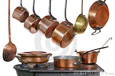 Pans and stove