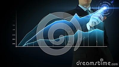 Pantalla táctil de la interactividad del hombre de negocios
